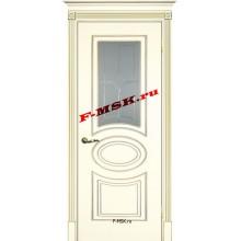 Дверь Смальта 03 Слоновая кость ral 1013 патина золото  Эмаль Белое сатинато, пескоструйная обработка со стеклом (Товар № ZA 13336)