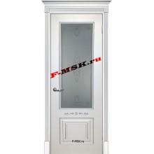 Дверь Смальта 04 Белый ral 9003 патина серебро  Эмаль Белое сатинато, пескоструйная обработка со стеклом (Товар № ZA 13342)