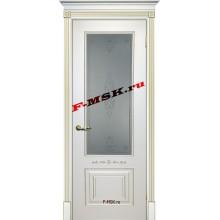 Дверь Смальта 04 Белый ral 9003 патина золото  Эмаль Белое сатинато, пескоструйная обработка со стеклом (Товар № ZA 13344)