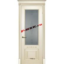 Дверь Смальта 04 Слоновая кость ral 1013 патина золото  Эмаль Белое сатинато, пескоструйная обработка со стеклом (Товар № ZA 13343)