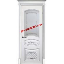 Дверь Смальта 05 Белый ral 9003 патина серебро  Эмаль Белое сатинато, шелкотрафаретная печать со стеклом (Товар № ZA 13350)