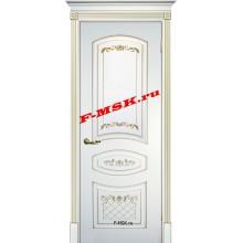 Дверь Смальта 05 Белый ral 9003 патина золото  Эмаль глухое (Товар № ZA 13346)