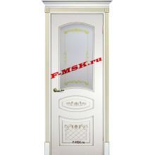 Дверь Смальта 05 Белый ral 9003 патина золото  Эмаль Белое сатинато, шелкотрафаретная печать со стеклом (Товар № ZA 13348)