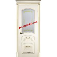 Дверь Смальта 05 Слоновая кость ral 1013 патина золото  Эмаль Белое сатинато, шелкотрафаретная печать со стеклом (Товар № ZA 13349)