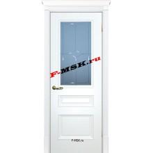 Дверь Смальта 06 Белый ral 9003  Эмаль Белое сатинато, гравированное со стеклом (Товар № ZA 13353)