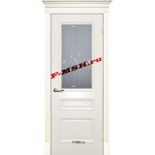 Дверь Смальта 06 Слоновая кость ral 1013  Эмаль Белое сатинато, гравированное со стеклом (Товар № ZA 13354)