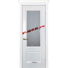 Дверь Смальта 07 Белый ral 9003  Эмаль Белое сатинато, гравированное со стеклом (Товар № ZA 13358)