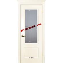Дверь Смальта 07 Ral 1013 Слоновая кость  Эмаль Белое сатинато, гравированное со стеклом (Товар № ZA 13357)
