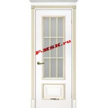 Дверь Смальта 08 Белый ral 9003 патина золото  Эмаль Белое сатинато, пескоструйная обработка со стеклом (Товар № ZA 13365)