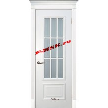 Дверь Смальта 08 Белый ral 9003  Эмаль Белое сатинато, пескоструйная обработка со стеклом (Товар № ZA 13368)