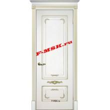 Дверь Смальта 09 Белый ral 9003 патина золото  Эмаль глухое (Товар № ZA 13370)