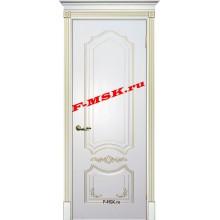 Дверь Смальта 10 Белый ral 9003 патина золото  Эмаль глухое (Товар № ZA 13376)
