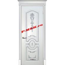 Дверь Смальта 11 Белый ral 9003 патина серебро  Эмаль глухое (Товар № ZA 13381)