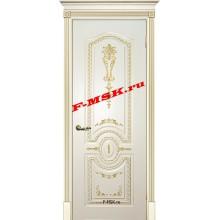 Дверь Смальта 11 Слоновая кость ral 1013 патина золото  Эмаль глухое (Товар № ZA 13383)