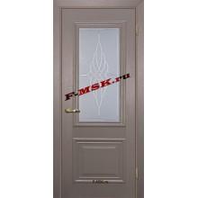 Дверь Классик-1 Каменное дерево  ПВХ Белое сатинато, контурный полимер бесцветный со стеклом (Товар № ZA 13464)