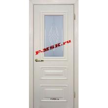 Дверь Классик-2 Бланжевое дерево  ПВХ Белое сатинато, контурный полимер бесцветный со стеклом (Товар № ZA 13469)