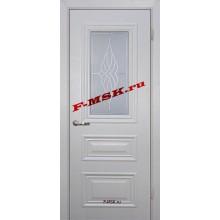Дверь Классик-2 Лунное дерево  ПВХ Белое сатинато, контурный полимер бесцветный со стеклом (Товар № ZA 13472)