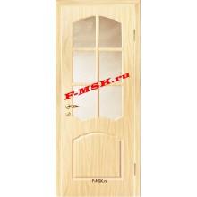 Дверь Лидия Беленый дуб (Береза)  ПВХ Бронза рифленное со стеклом (Товар № ZA 13477)