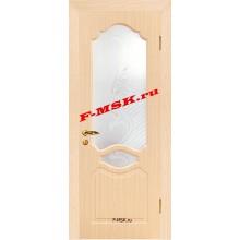 Дверь Венеция Беленый дуб  ПВХ Белое сатинато, художественное, фьюзинг со стеклом (Товар № ZA 14369)