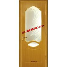 Дверь Венеция Дуб  ПВХ Белое сатинато, художественное, фьюзинг со стеклом (Товар № ZA 14370)