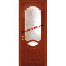 Дверь Венеция Итальянский орех  ПВХ Белое сатинато, художественное, фьюзинг со стеклом (Товар № ZA 14371)
