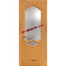 Дверь Венеция Миланский орех  ПВХ Белое сатинато, художественное, фьюзинг со стеклом (Товар № ZA 14373)