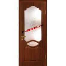 Дверь Венеция Венге  ПВХ Белое сатинато, художественное, фьюзинг со стеклом (Товар № ZA 14372)