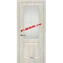 Дверь Версаль-1 Дуб седой  ПВХ Белое сатинато, контурный полимер серебро со стеклом (Товар № ZA 14381)