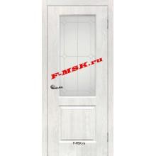 Дверь Версаль-1 Дуб жемчужный  ПВХ Белое сатинато, контурный полимер серебро со стеклом (Товар № ZA 14379)