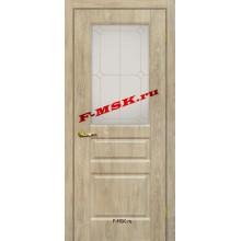 Дверь Версаль-2 Дуб песочный  ПВХ Белое сатинато, контурный полимер золото со стеклом (Товар № ZA 14389)