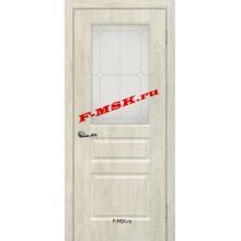Дверь Версаль-2 Дуб седой  ПВХ Белое сатинато, контурный полимер серебро со стеклом (Товар № ZA 14387)