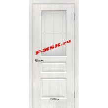 Дверь Версаль-2 Дуб жемчужный  ПВХ Белое сатинато, контурный полимер серебро со стеклом (Товар № ZA 14388)