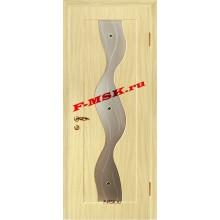 Дверь Вираж Беленый дуб (Береза)  ПВХ Белое сатинато, художественное, фьюзинг со стеклом (Товар № ZA 14394)