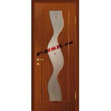 Дверь Вираж Итальянский орех  ПВХ Белое сатинато, художественное, фьюзинг со стеклом (Товар № ZA 14395)