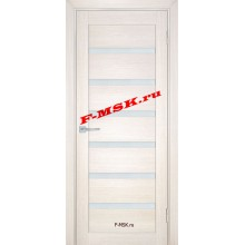 Дверь ТЕХНО-707 Сандал бежевый  ПВХ Белое сатинато со стеклом (Товар № ZA 14412)