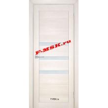 Дверь ТЕХНО-709 Сандал бежевый  ПВХ Белое сатинато со стеклом (Товар № ZA 14422)