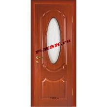 Дверь Ариана Красное дерево  Шпон Белое сатинато, пескоструйная обработка со стеклом (Товар № ZA 14451)