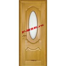 Дверь Ариана Светлый дуб  Шпон Белое сатинато, пескоструйная обработка со стеклом (Товар № ZA 14452)