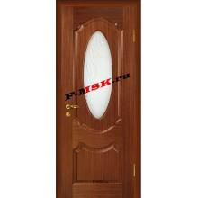 Дверь Ариана Темный орех  Шпон Белое сатинато, пескоструйная обработка со стеклом (Товар № ZA 14450)
