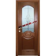 Дверь Милано Темный орех  Шпон Белое сатинато, пескоструйная обработка со стеклом (Товар № ZA 14459)