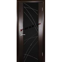 Дверь Страто 02 Тонированный черный дуб  Шпон Черное триплекс гравировка, рис. Роса со стеклом (Товар № ZA 14496)