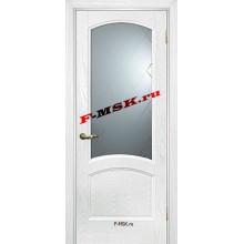 Дверь Вайт 01 Ясень айсберг  Шпон Белое, гравированное, рис. Готика со стеклом (Товар № ZA 14500)