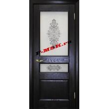 Дверь Вайт 02 Дуб патинированный  Шпон Белое сатинато, шелкография серая (два стекла) со стеклом (Товар № ZA 14505)