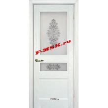 Дверь Вайт 02 Ясень айсберг  Шпон Белое сатинато, шелкография серая (два стекла) со стеклом (Товар № ZA 14504)