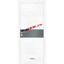 Дверь FX- 3 Ясень снежный  Экошпон Серый лакобель со стеклом (Товар № ZA 14512)