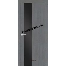 Дверь FX- 6 Ясень кварцевый  Экошпон Черный лакобель со стеклом (Товар № ZA 14515)