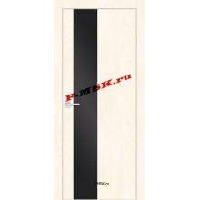Дверь FX- 6 Ясень Слоновая кость  Экошпон Черный лакобель со стеклом (Товар № ZA 14519)