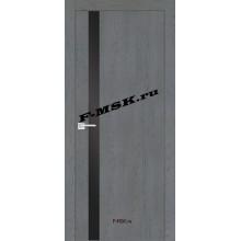 Дверь FX- 8 Ясень кварцевый  Экошпон Черный лакобель со стеклом (Товар № ZA 14523)