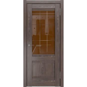 Межкомнатная дверь ЛУ-52 (Дуб филадельфия шоколад, ст.бронза) со стеклом, дуб филадельфия шоколад (Товар № ZF197046)