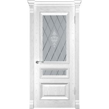 Межкомнатная дверь Фараон-2 (ДО Дуб белая эмаль) со стеклом, дуб белая эмаль (Товар № ZF190964)